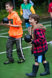 laughing dodgeball carefree happy campers new hampshire